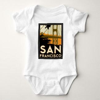 サンフランシスコのアールデコ旅行ポスター ベビーボディスーツ