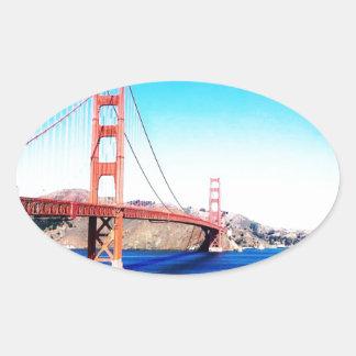 サンフランシスコのゴールデンゲートブリッジカリフォルニア 楕円形シール