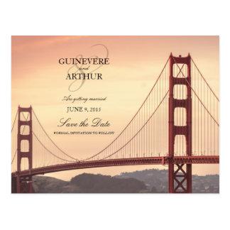 サンフランシスコのゴールデンゲート結婚式の保存日付 ポストカード