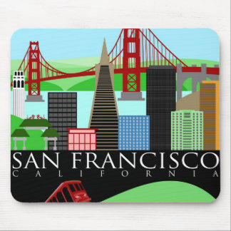 サンフランシスコのスカイラインのイラストレーションのマウスパッド マウスパッド