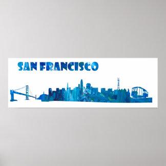 サンフランシスコのスカイラインのシルエット ポスター