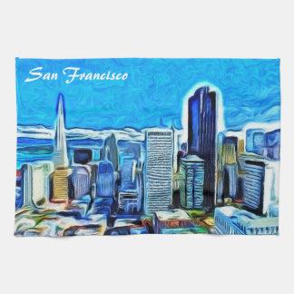 サンフランシスコのスカイライン キッチンタオル