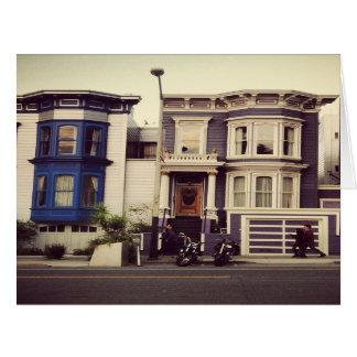 サンフランシスコのユニークで青および紫色の家 カード