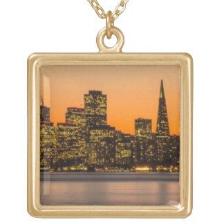サンフランシスコの美しい日没 ゴールドプレートネックレス