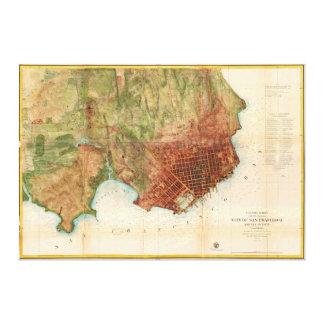 サンフランシスコの1859の海岸の調査の地図 キャンバスプリント