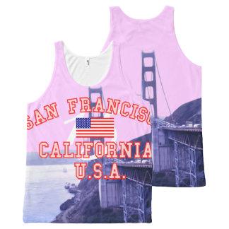 サンフランシスコカリフォルニアのゴールデンゲートブリッジ オールオーバープリントタンクトップ