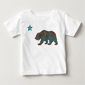 サンフランシスコカリフォルニアのティール(緑がかった色)くまのベビーのワイシャツ ベビーTシャツ
