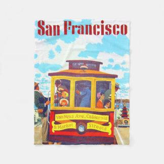 サンフランシスコカリフォルニアのトロリー車のゴールデンゲート フリースブランケット