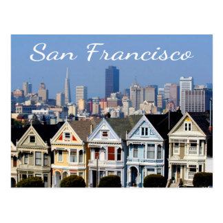 サンフランシスコカリフォルニアの色彩の鮮やかな女性スカイラインの州 ポストカード