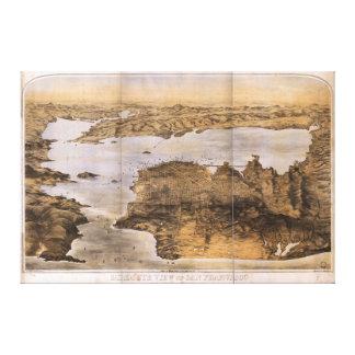 サンフランシスコカリフォルニア(1876年)のBirdseyeの眺め キャンバスプリント