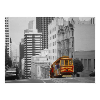 サンフランシスコケーブルの車ハイライトの写真の芸術 ポスター