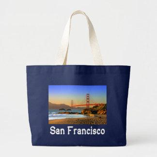 サンフランシスコ、カリフォルニアのゴールデンゲートブリッジの戦闘状況表示板 ラージトートバッグ