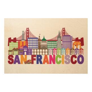 サンフランシスコ、カリフォルニア|のタイポグラフィのデザイン ウッドウォールアート