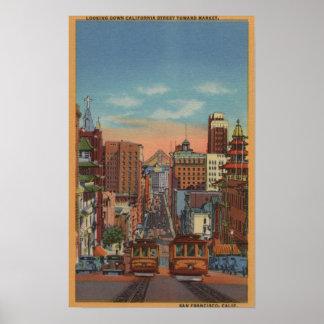 サンフランシスコ、カリフォルニア-上がるケーブル・カー ポスター