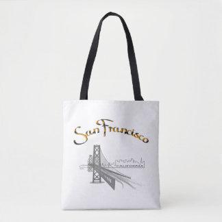 サンフランシスコ、カリフォルニア、黒、金ゴールド、カッコいい トートバッグ