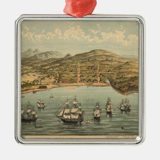 サンフランシスコ(1884年)のヴィンテージの絵解き地図 メタルオーナメント