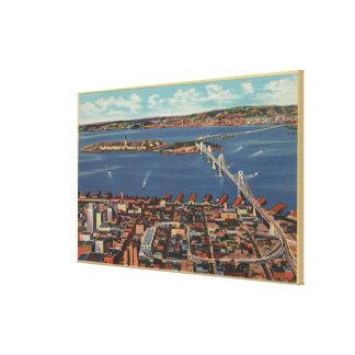 サンフランシスコ、S.F. BridgeのCAAerialの眺め キャンバスプリント