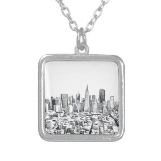 サンフランシスコSF Citiscapeの写真 シルバープレートネックレス