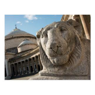 サンフランチェスコdi Paolaの前のライオンの彫像 ポストカード