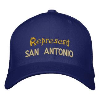 サン・アントニオの帽子を表して下さい 刺繍入りベースボールキャップ