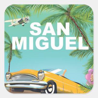 サン・ミゲルエルサルバドルのヴィンテージ旅行ポスター スクエアシール