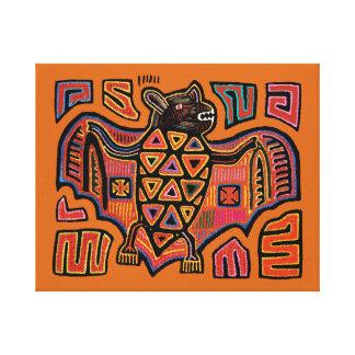 サンBlasの島のKunaのインドのMolaのオオコウモリ キャンバスプリント