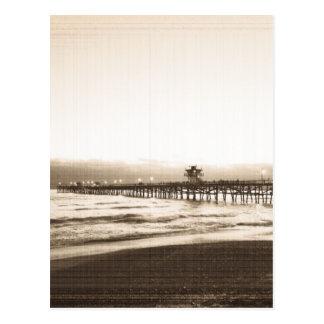サンClemete桟橋カリフォルニアビーチのヴィンテージの写真 ポストカード