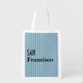 サンFrancisoの建築ライン青い格子図形 エコバッグ