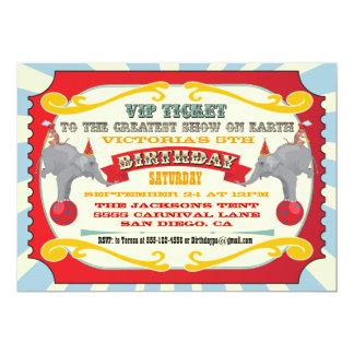 サーカスかカーニバルのチケットの誕生日の招待状 カード
