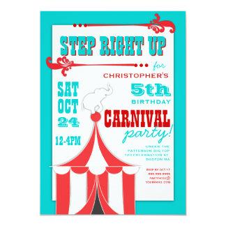 サーカスのカーニバルの誕生会のサーカスの大テントの招待状 カード