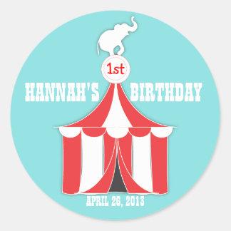 サーカスのテント及び象の子供の誕生日のパーティーのステッカー ラウンドシール