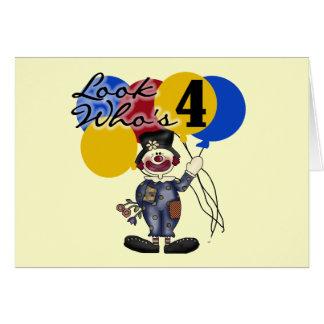 サーカスのピエロの第4誕生日のTシャツおよびギフト グリーティングカード
