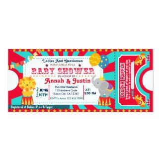 サーカスのベビーシャワーの招待-おむつのラッフル カード