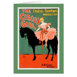 サーカスの女の子のヴィンテージの劇場ポスター カード