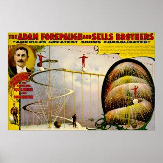 サーカスの性能のヴィンテージ1899年のポスター ポスター