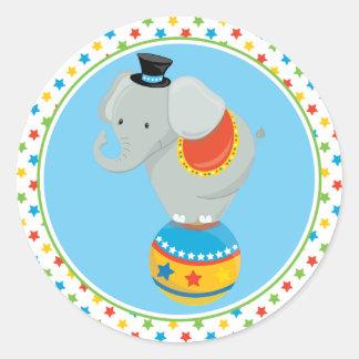 サーカスの球のサーカスのテーマ|象 ラウンドシール