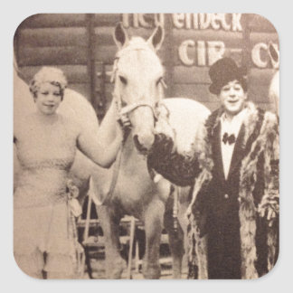 サーカスの芸人および白馬 スクエアシール