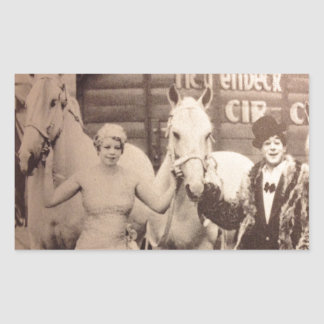 サーカスの芸人および白馬 長方形シール