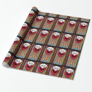 サーカスの芸術は-幸せなピエロv2を縞で飾り、 ラッピングペーパー