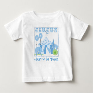 サーカスのTシャツの上のカスタマイズ青いステップ権利 ベビーTシャツ