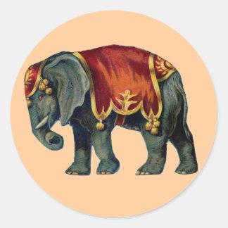 サーカス象のステッカー ラウンドシール