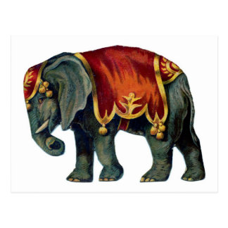 サーカス象の古いiIustração ポストカード