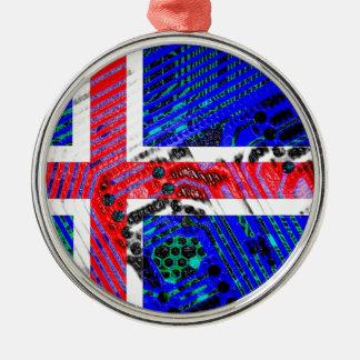 サーキットボードアイスランド(旗) シルバーカラー丸型オーナメント