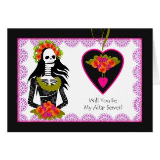 サーバーInvitation Dia de los Muertos Weddingを変えて下さい グリーティングカード