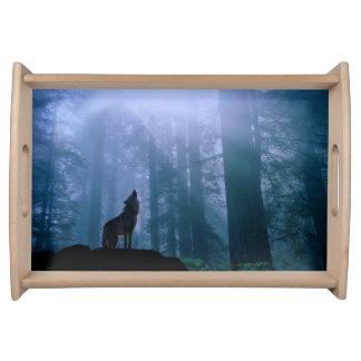 サービングの皿イエローストーンのオオカミ トレー