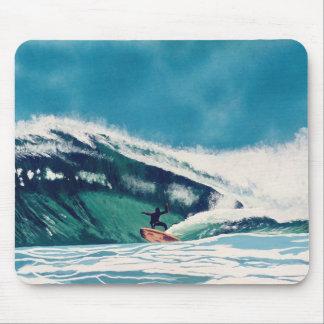 サーファーのサーフィンの管の乗車の波の海の海のマウスパッド マウスパッド