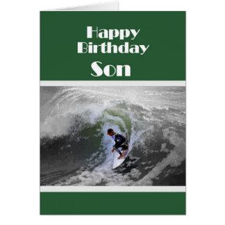 サーファーのハッピーバースデーの息子カード カード