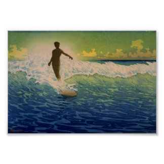 サーファーの乗馬の波、ハワイの芸術ポスター ポスター