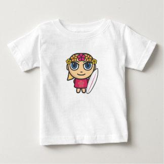 サーファーの女の子のマンガのキャラクタのベスト ベビーTシャツ