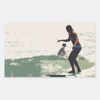 サーファーの女の子の石 長方形シール